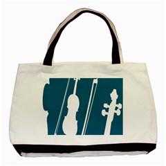 Violin Music Blue Basic Tote Bag by Mariart