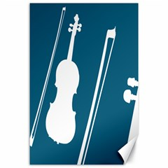 Violin Music Blue Canvas 24  X 36  by Mariart