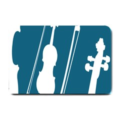 Violin Music Blue Small Doormat  by Mariart