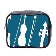 Violin Music Blue Mini Toiletries Bag 2 Side by Mariart