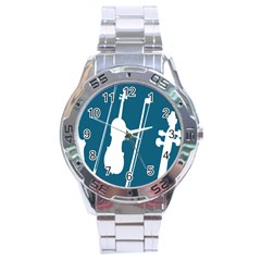 Violin Music Blue Stainless Steel Analogue Watch by Mariart