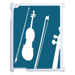 Violin Music Blue Apple Ipad 2 Case (white) by Mariart