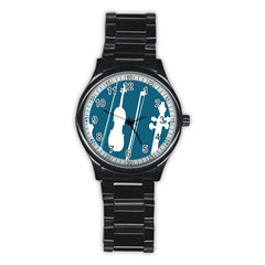 Violin Music Blue Stainless Steel Round Watch by Mariart