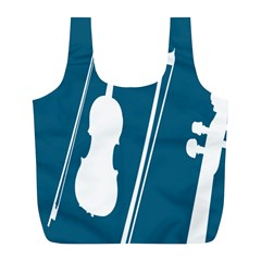 Violin Music Blue Full Print Recycle Bags (l)  by Mariart