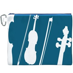 Violin Music Blue Canvas Cosmetic Bag (xxxl) by Mariart