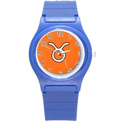 Taurus Symbol Sign Orange Round Plastic Sport Watch (s) by Mariart