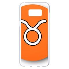 Taurus Symbol Sign Orange Samsung Galaxy S8 Plus White Seamless Case by Mariart