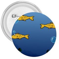 Water Bubbles Fish Seaworld Blue 3  Buttons by Mariart