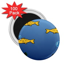 Water Bubbles Fish Seaworld Blue 2 25  Magnets (100 Pack)  by Mariart