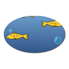 Water Bubbles Fish Seaworld Blue Oval Magnet by Mariart