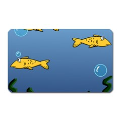 Water Bubbles Fish Seaworld Blue Magnet (rectangular) by Mariart