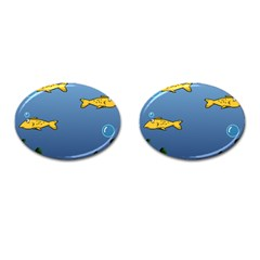 Water Bubbles Fish Seaworld Blue Cufflinks (oval) by Mariart