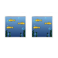 Water Bubbles Fish Seaworld Blue Cufflinks (square) by Mariart
