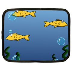 Water Bubbles Fish Seaworld Blue Netbook Case (xl)  by Mariart