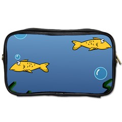 Water Bubbles Fish Seaworld Blue Toiletries Bags 2 Side by Mariart