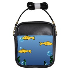 Water Bubbles Fish Seaworld Blue Girls Sling Bags by Mariart