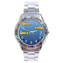 Water Bubbles Fish Seaworld Blue Stainless Steel Analogue Watch by Mariart