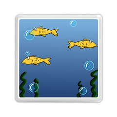 Water Bubbles Fish Seaworld Blue Memory Card Reader (square)  by Mariart