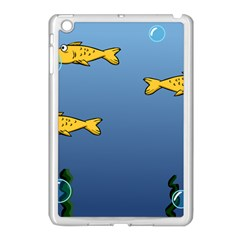 Water Bubbles Fish Seaworld Blue Apple Ipad Mini Case (white) by Mariart