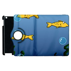Water Bubbles Fish Seaworld Blue Apple Ipad 2 Flip 360 Case by Mariart