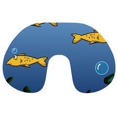 Water Bubbles Fish Seaworld Blue Travel Neck Pillows by Mariart