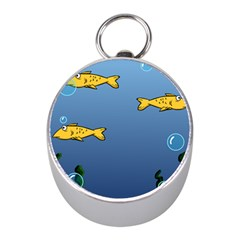 Water Bubbles Fish Seaworld Blue Mini Silver Compasses by Mariart