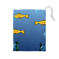 Water Bubbles Fish Seaworld Blue Drawstring Pouches (large)  by Mariart
