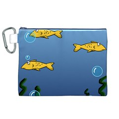 Water Bubbles Fish Seaworld Blue Canvas Cosmetic Bag (xl) by Mariart