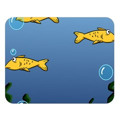 Water Bubbles Fish Seaworld Blue Double Sided Flano Blanket (large)  by Mariart