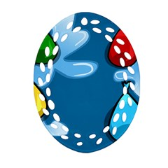 Water Balloon Blue Red Green Yellow Spot Oval Filigree Ornament (two Sides) by Mariart