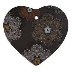 Walls Medallion Floral Grey Polka Heart Ornament (two Sides) by Mariart