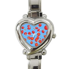 Tomatoes Fruite Slice Red Heart Italian Charm Watch by Mariart
