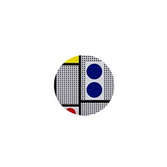 Watermark Circle Polka Dots Black Red Yellow Plaid 1  Mini Buttons by Mariart