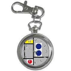 Watermark Circle Polka Dots Black Red Yellow Plaid Key Chain Watches by Mariart