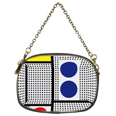 Watermark Circle Polka Dots Black Red Yellow Plaid Chain Purses (two Sides)  by Mariart
