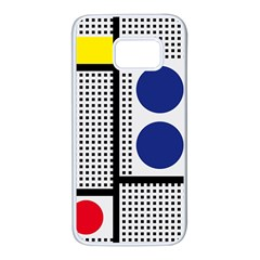 Watermark Circle Polka Dots Black Red Yellow Plaid Samsung Galaxy S7 White Seamless Case by Mariart
