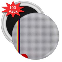 Watermark Circle Polka Dots Black Red 3  Magnets (100 Pack) by Mariart