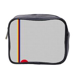 Watermark Circle Polka Dots Black Red Mini Toiletries Bag 2 Side by Mariart