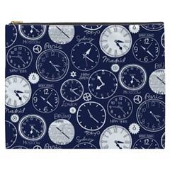Time World Clocks Cosmetic Bag (xxxl)  by Mariart