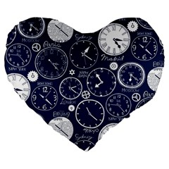 Time World Clocks Large 19  Premium Flano Heart Shape Cushions by Mariart