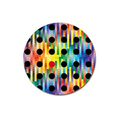 Watermark Circles Squares Polka Dots Rainbow Plaid Magnet 3  (round) by Mariart