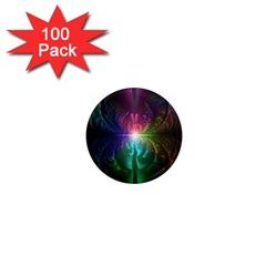 Anodized Rainbow Eyes And Metallic Fractal Flares 1  Mini Magnets (100 Pack)  by jayaprime
