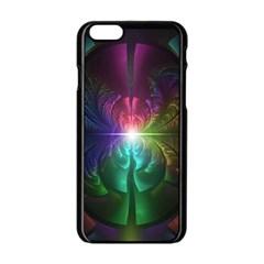 Anodized Rainbow Eyes And Metallic Fractal Flares Apple Iphone 6/6s Black Enamel Case by beautifulfractals