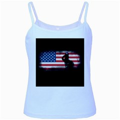 Honor Our Heroes On Memorial Day Baby Blue Spaghetti Tank by Catifornia
