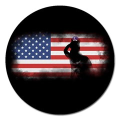 Honor Our Heroes On Memorial Day Magnet 5  (round) by Catifornia