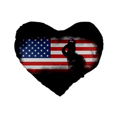 Honor Our Heroes On Memorial Day Standard 16  Premium Heart Shape Cushions by Catifornia