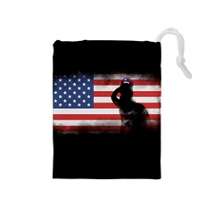 Honor Our Heroes On Memorial Day Drawstring Pouches (medium)  by Catifornia
