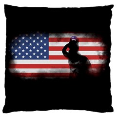 Honor Our Heroes On Memorial Day Large Flano Cushion Case (one Side) by Catifornia
