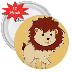 Happy Cartoon Baby Lion 3  Buttons (10 Pack)  by Catifornia