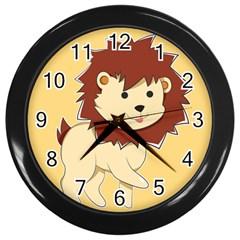 Happy Cartoon Baby Lion Wall Clocks (black) by Catifornia